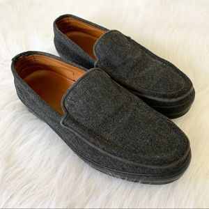 TODS Gray Textile Felt Slip On Moccasin Loafers